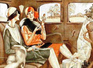 Pasażerki dawnej automobilowej taksówki